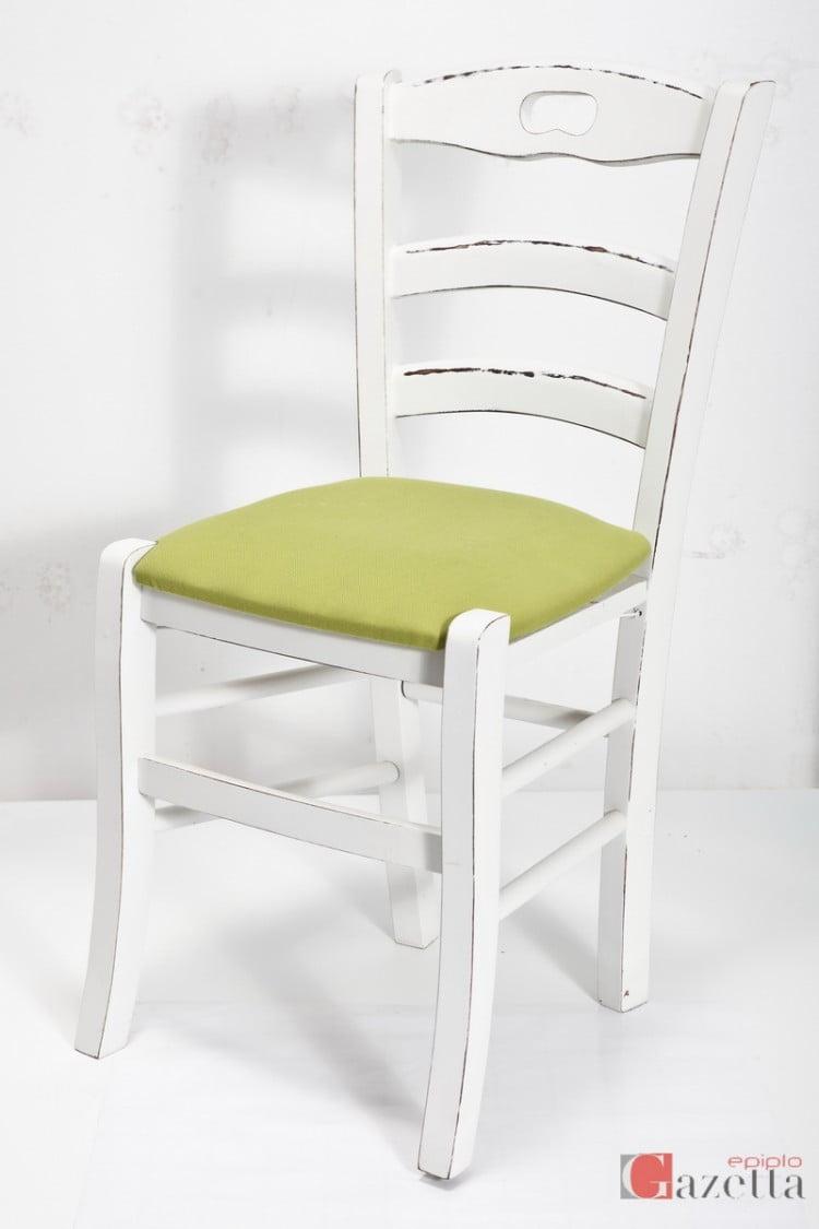 Καρέκλα Κ40 λάκα πατίνα με ύφασμα